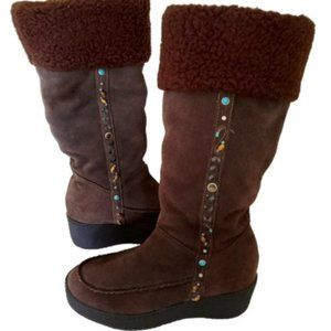 Steve Madden Suede Fur Boho Tribal Beaded Boots